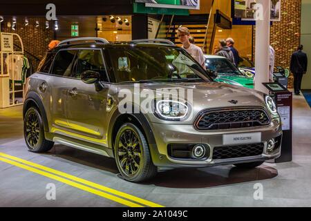 FRANKFURT, GERMANY - SEPT 2019: silver MINI COOPER MINI ELECTRIC, IAA International Motor Show Auto Exhibtion. - Stock Photo