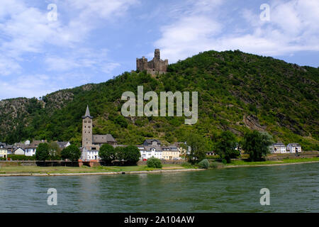 Maus Castle in Deuernburg, Germany in the Middle Rhine River Valley - Stock Photo