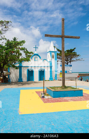 Praia do Forte, Brazil - Circa September 2019: A view of Igreja de Sao Francisco de Assis, colonial style church at Praia do Forte - Stock Photo