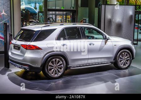 FRANKFURT, GERMANY - SEPT 2019: silver gray MERCEDES-BENZ GLE 350 de electric SUV, IAA International Motor Show Auto Exhibtion. - Stock Photo