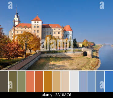 Color matching palette from image of Hartenfels castle in Torgau, a town on the banks of the Elbe river in Saxony, Germany - Stock Photo