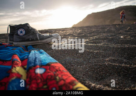 Rodeo Beach provides a great opportunity to lie down in the sand and enjoy crashing waves. - Stock Photo