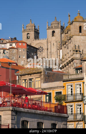 View to Sé Cathedral Porto Portugal - Stock Photo