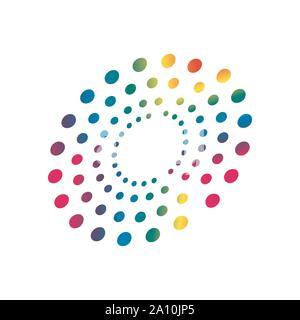 colorful rainbow circles dot pattern circular shape element vector - Stock Photo