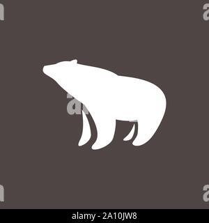 black and white simple bear logo design Vector illustration - Stock Photo