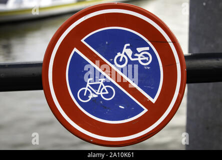 Bicycle prohibited sign, traffic signal detail, sign in the city of Amsterdam - Stock Photo