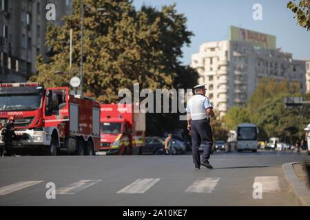 Bucharest, Romania - September 22, 2019: Romanian road police officer on the street. - Stock Photo