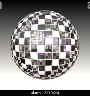 Abstract black and white checkered metallic ball. - Stock Photo
