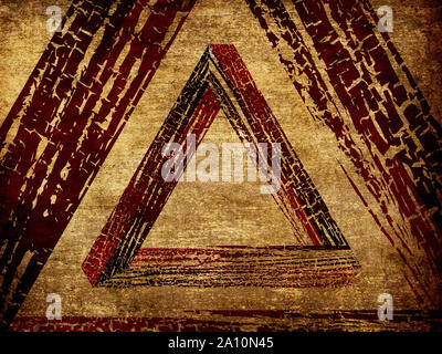 Grunge fantastic shaped wooden triangle on white background. - Stock Photo