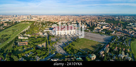 Aerial panoramic view of Milan (Italy) cityscape with the soccer stadium,  known as San Siro Stadium - Stock Photo