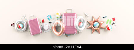 Traveler's accessories on white background. Mock up for travel concept design. 3D illustration. - Stock Photo