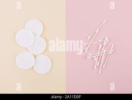 Spa concept. Clean cotton disk and ear swabs. Top view - Stock Photo