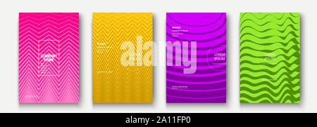 Minimalist modern cover collection design. Dynamic colorful halftone gradients. Future geometric patterns wave and zigzag vector background. Trendy mi - Stock Photo