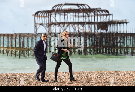 Brighton UK 23 September 2019 - The Mayor of London Sadiq Khan on Brighton beach this morning by the West Pier during the Labour Party Conference being held in the Brighton Centre this year. Credit : Simon Dack / Alamy Live News - Stock Photo