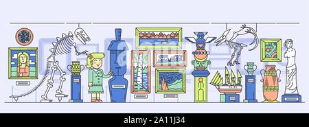 Woman guide conducting excursion around exhibition hall with artifacts. Exposition with paintings, sculptures, dinosaurs skeletons, ancient objects at museum. Art gallery vector flat illustration. - Stock Photo