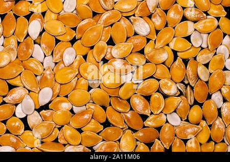 Bright orange and white pumpkin seeds on a black background closeup - Stock Photo