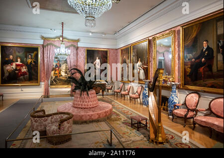Madrid. Spain. Museo del Romanticismo (Museum of Romanticism), Salon de baile/ Ballroom.  The museum is housed in an 18th century neo-classical palace - Stock Photo
