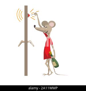 Funny mouse with a bottle of champagne rings the doorbell. The symbol of the New Year 2020. Cartoon character in a flat style vector illustration. - Stock Photo