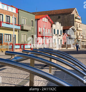 September, 2019 - Colorful candy traditional striped cottages in Costa Nova, Aveiro, Portugal - Stock Photo