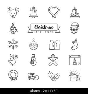 Collection of Christmas Holidays outline style icons. Festive winter season vector symbols set. - Stock Photo