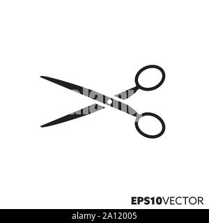 Scissors glyph icon. Symbol of hairdressing and tailoring. Office tool flat vector illustration. - Stock Photo