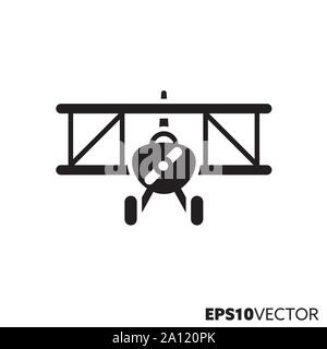 Biplane glyph icon. Solid symbol of aviation and air travel. Historic aircraft flat vector illustration. - Stock Photo