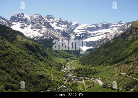 France. Hautes-Pyrenees.Section of the Cirque de Gavarnie & the village of Gavarnie. Most spectacular valley in the French Pyrenees.A UNESCO site, - Stock Photo