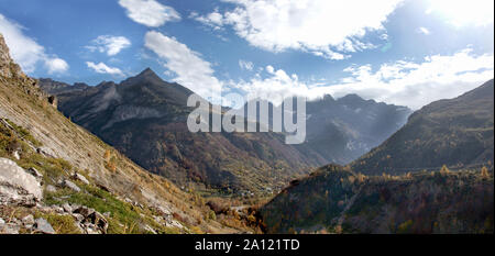 France. Hautes-Pyrenees. Looking towards Mount Pimene and the left hand side of the Cirque de Gavarnie. Photo from the Valley d'Ossou. - Stock Photo