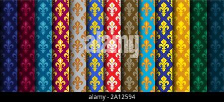 Royal Heraldic Lilies (Fleur de lis) — Rich colorful wallpaper, fabric textile, seamless pattern, set of 13 versicolored rolls.