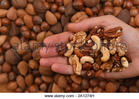 Embargoed to 2330 Monday September 23 File photo dated 5/12/2016 of mixed nuts including cashew, almonds, hazlenuts, walnuts, pecan nuts and pistachio nuts. Eating more nuts may slow weight gain in people as they get older, new research has found. - Stock Photo