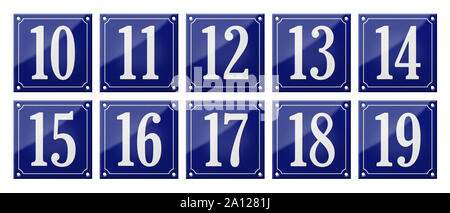 Set of traditional blue enamel signs - Numbers 10- 19 - Stock Photo