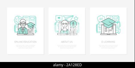 Online education - line design style icons set - Stock Photo