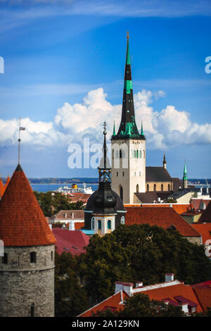 Tallinn Old Town on Toompea Hill, Estonia, panoramic view with traditional red tile roofs, medieval churches and walls - Stock Photo