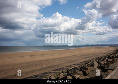Looking toward Middlesbrough from Seaton Carew, Hartlepool. - Stock Photo