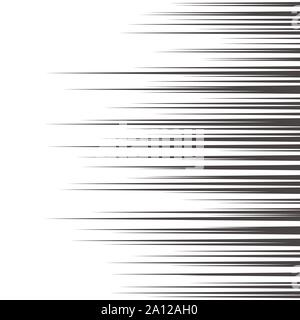 Comic horizontal speed lines background. Manga speed frame. Cartoon motion background. Superhero action. Vector illustration isolated on white backgro - Stock Photo