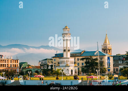 Batumi, Adjara, Georgia - September 10, 2017: Chacha Tower Is Local Landmark Attraction. Tower Is Surrounded By 4 Fountain Pools With Chacha. View Fro - Stock Photo