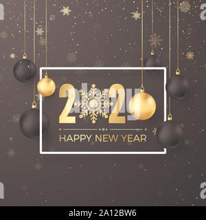 Christmas Decoration Elements. Greeting golden numbers 2020 and text Happy New Year on dark background in white frame. Black and golden hanging Christ - Stock Photo
