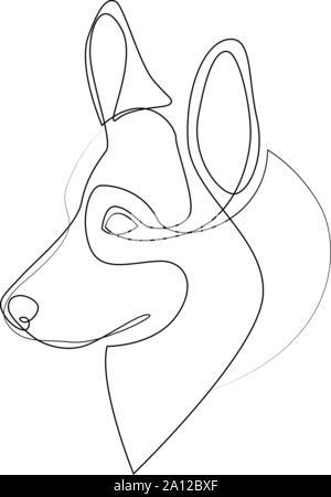 Continuous line Welsh Corgi Pembroke. Single line minimal style Corgi dog vector illustration - Stock Photo