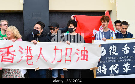 Brighton UK 23 September 2019 - Liberate Hong Kong protesters outside the Labour Party Conference being held in the Brighton Centre this year. Credit : Simon Dack / Alamy Live News - Stock Photo