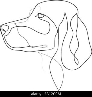 Continuous line Irish Setter. Single line minimal style Setter dog vector illustration - Stock Photo