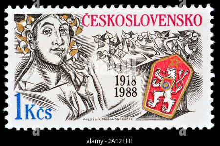 Czechoslovakian postage stamp (1988) : 70th anniversary of the Czechoslovak Republic - Stock Photo