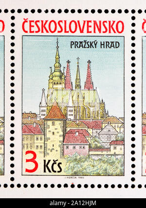 Czechoslovakian postage stamp (1985) : View of Prague Castle / Prazsky Hrad. St Vitus Cathedral seen from across the river. - Stock Photo