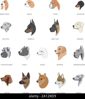 Breeds of dogs drawn in minimal style set. Minimal vector illustration - Stock Photo