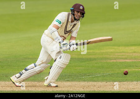 London, UK. 23 September, 2019. Scott Borthwick batting for Surrey against Nottinghamshire on day one of the Specsavers County Championship game at the Oval. David Rowe/Alamy Live News - Stock Photo