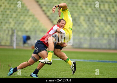 Munich, Deutschland. 22nd Sep, 2019. general game scene, action, duels . Australia USA. Rugby Oktoberfest 7s, invitation tournament of the national teams in the Siebener Rugby, on 22.09.2019 in Munich, Olympic Stadium. | usage worldwide Credit: dpa/Alamy Live News - Stock Photo