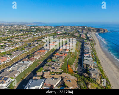 Aerial view of Salt Creek and Monarch beach coastline. Small neighborhood in Orange County City of Dana Point. California, USA. Aerial view of wealthy villa and coastline.  - Stock Photo