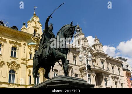 Monument Bano Josip Jelačić statue at Ban Jelačić Square, Trg Bana Josipa Jelačića. Zagreb, Croatia, Europe. - Stock Photo