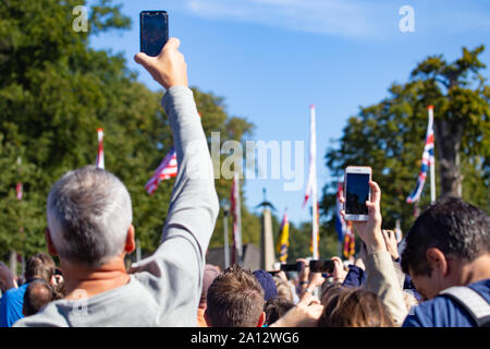 Ede, Netherlands, September 19, 2019: Visitors watching WWII memoral 75 years remembrance of Operation Market Garden WOII Arnhem in the Netherlands - Stock Photo