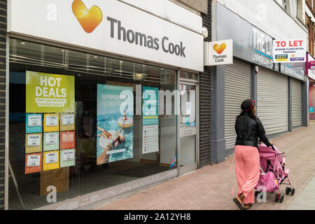 Southend on Sea, UK. 23rd Sept, 2019. Thomas Cook store on The High Street closed as the business ceases trading after 178 years. Penelope Barritt/Alamy Live News - Stock Photo