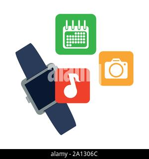 smart watch technology with applications menu vector illustration design - Stock Photo